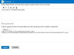 Poner imagen en la firma en Outlook iniciar sesion